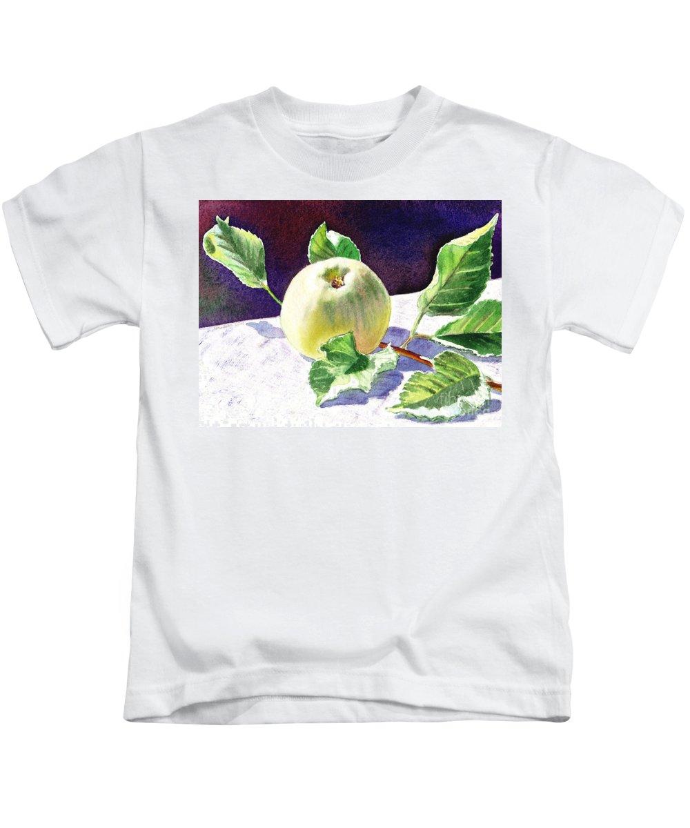 Green Apple Kids T-Shirt featuring the painting Green Apple by Irina Sztukowski