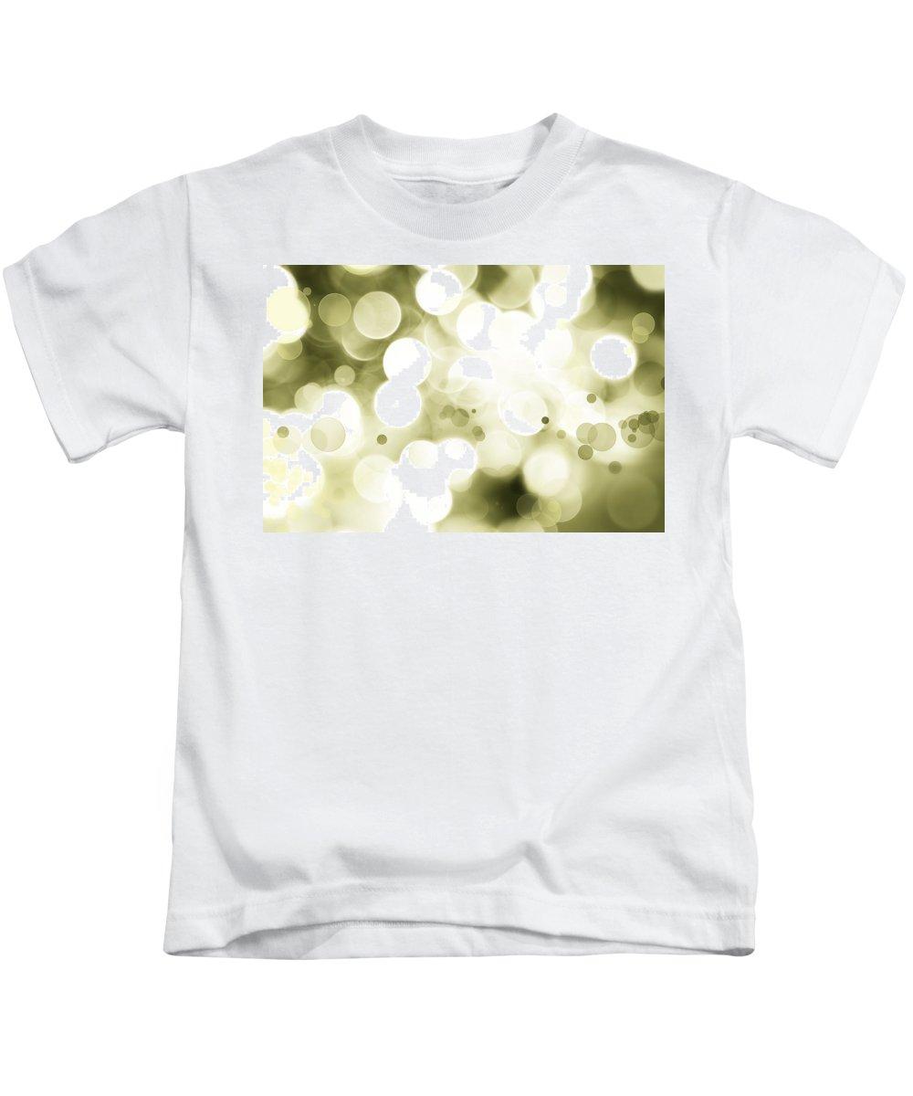 Green Kids T-Shirt featuring the digital art Green Circles by Les Cunliffe