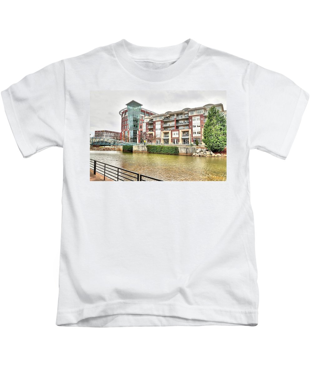 Greenville Sc Kids T-Shirt featuring the photograph Greenville River Front by Sonja Dover