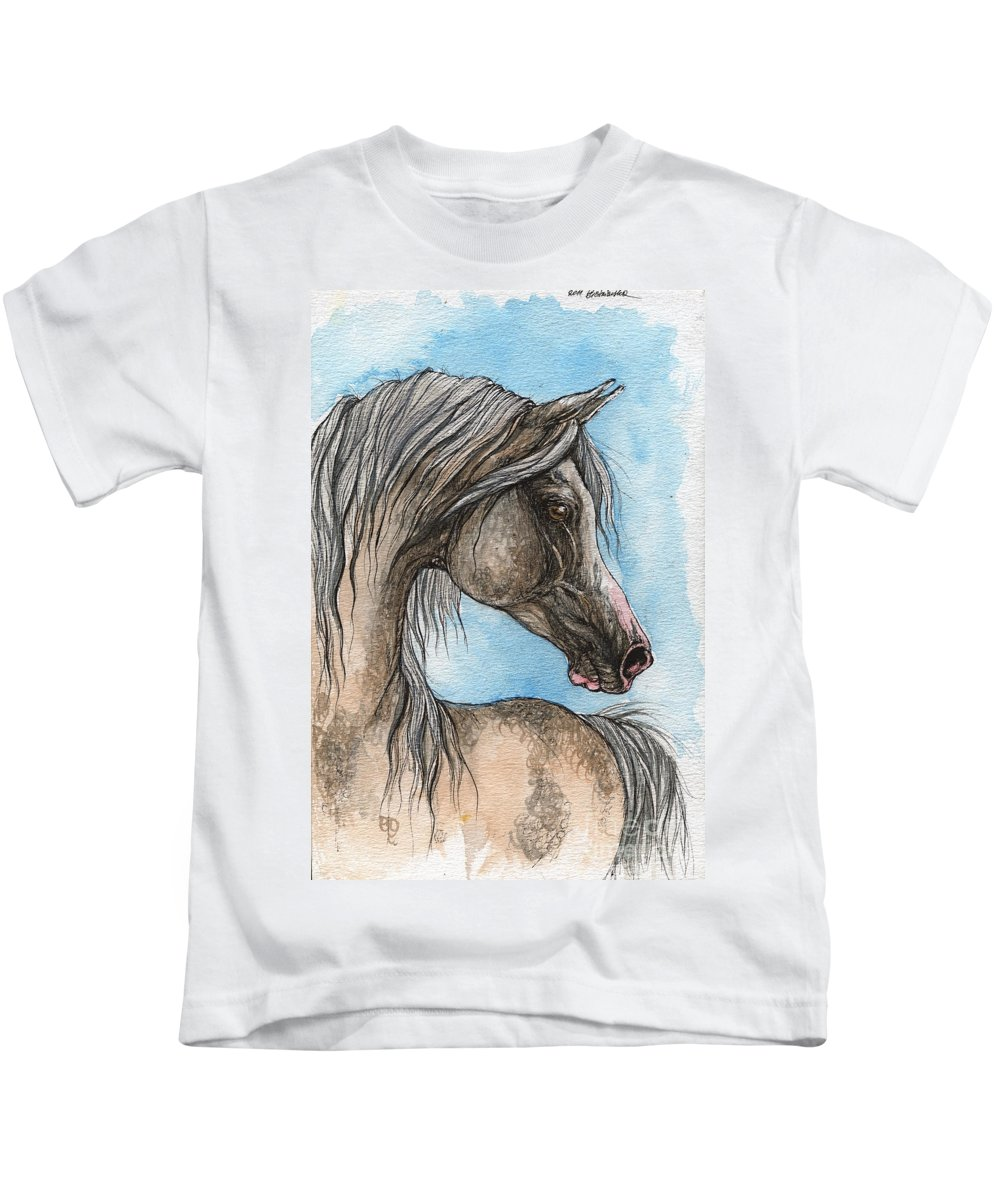 Horse Kids T-Shirt featuring the painting Grey Arabian Horse Watercolor Painting 5 by Angel Ciesniarska
