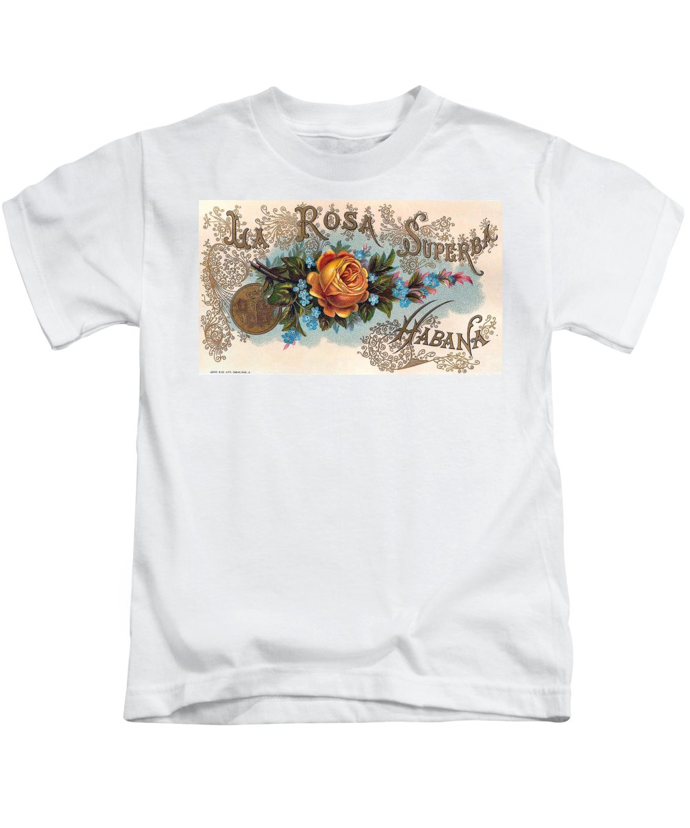 Habana Cigar Label Kids T-Shirt featuring the digital art Habana Cigar Label by Labe Art