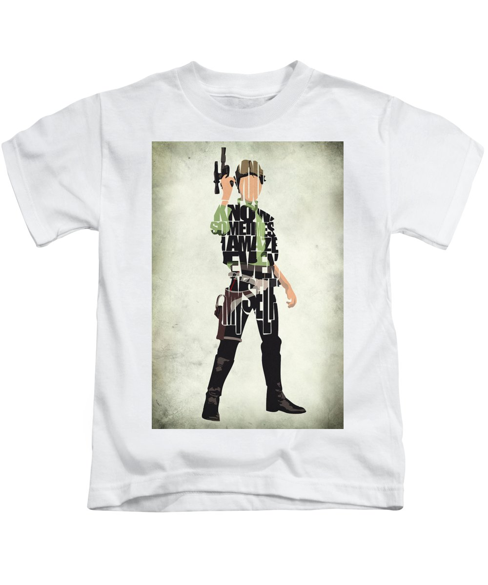 Han Solo Kids T-Shirt featuring the painting Han Solo Vol 2 - Star Wars by Inspirowl Design