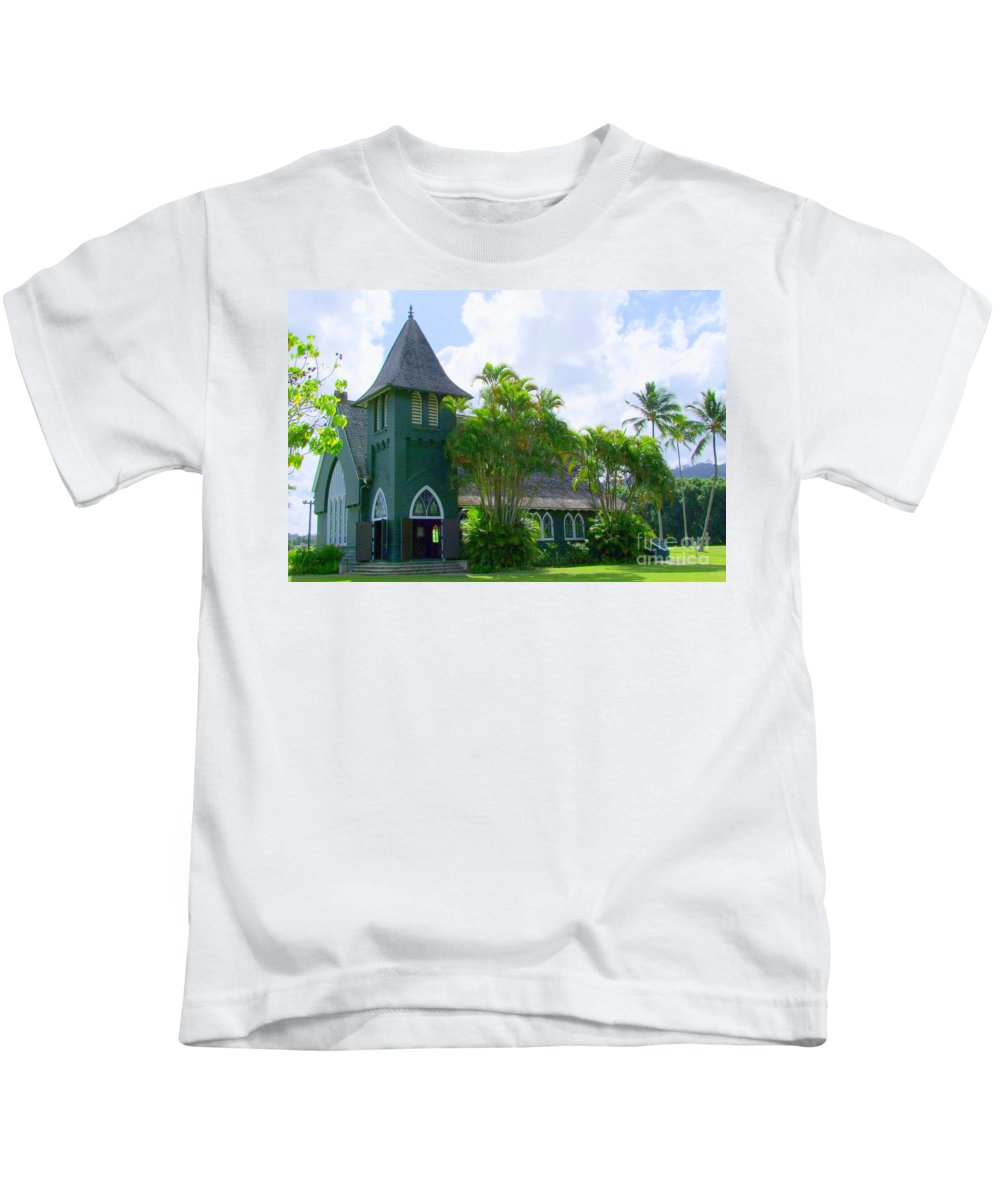Church Kids T-Shirt featuring the photograph Hanalei Church by Mary Deal