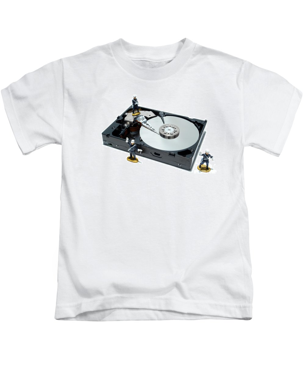 Computer Kids T-Shirt featuring the photograph Hard Drive Security by Olivier Le Queinec