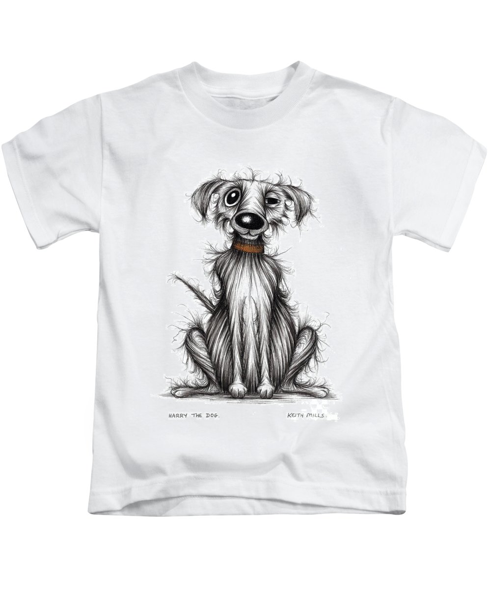 Harry The Dog Kids T-Shirt featuring the drawing Harry The Dog by Keith Mills