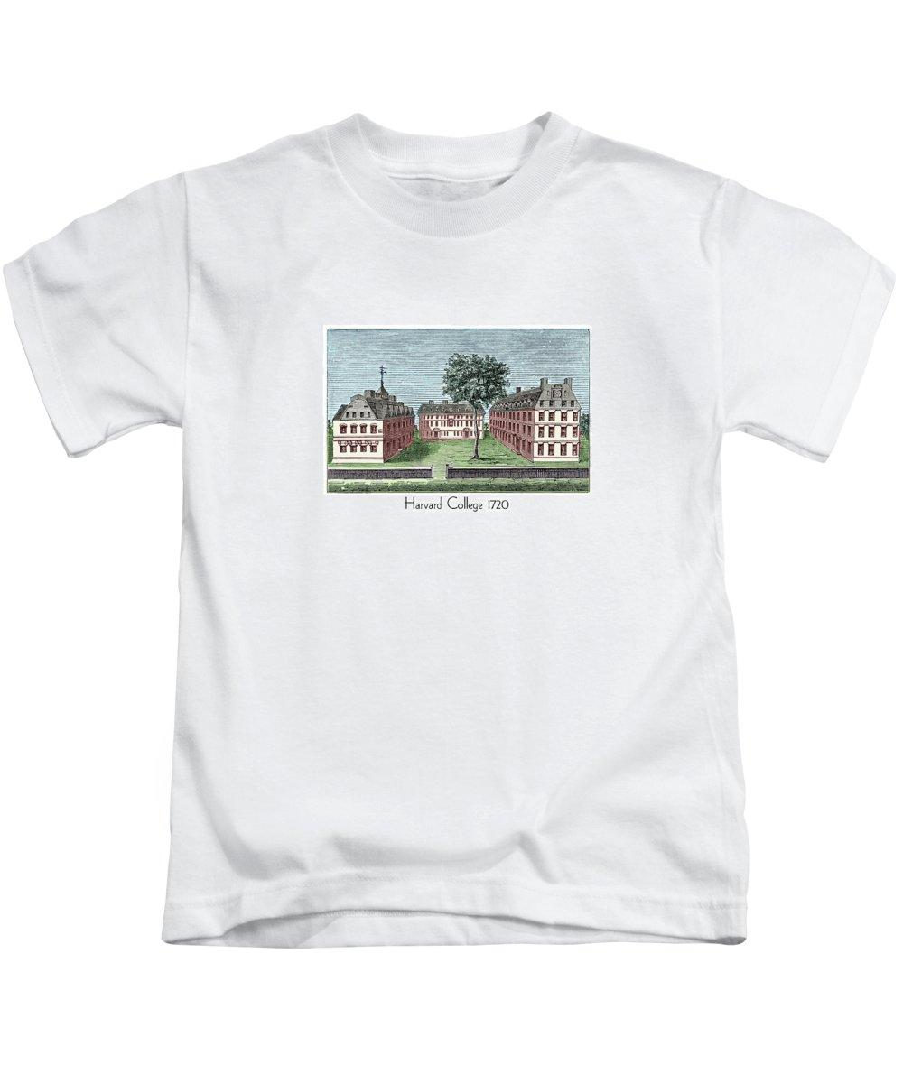 Harvard Kids T-Shirt featuring the digital art Harvard College - 1720 by John Madison