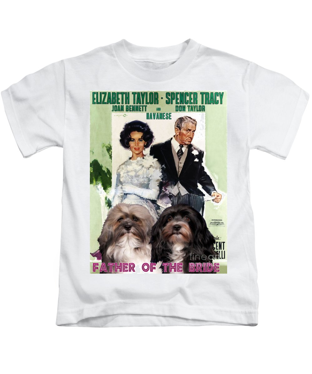 Havanese Kids T-Shirt featuring the painting Havanese Art - Father Of The Bride Movie Poster by Sandra Sij