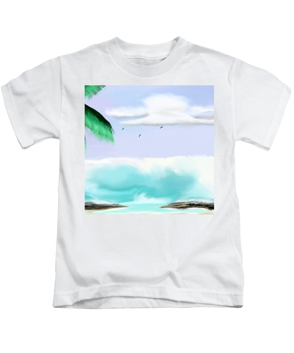 Hawaii Kids T-Shirt featuring the painting Hawaii Waves by Kinepela Smith