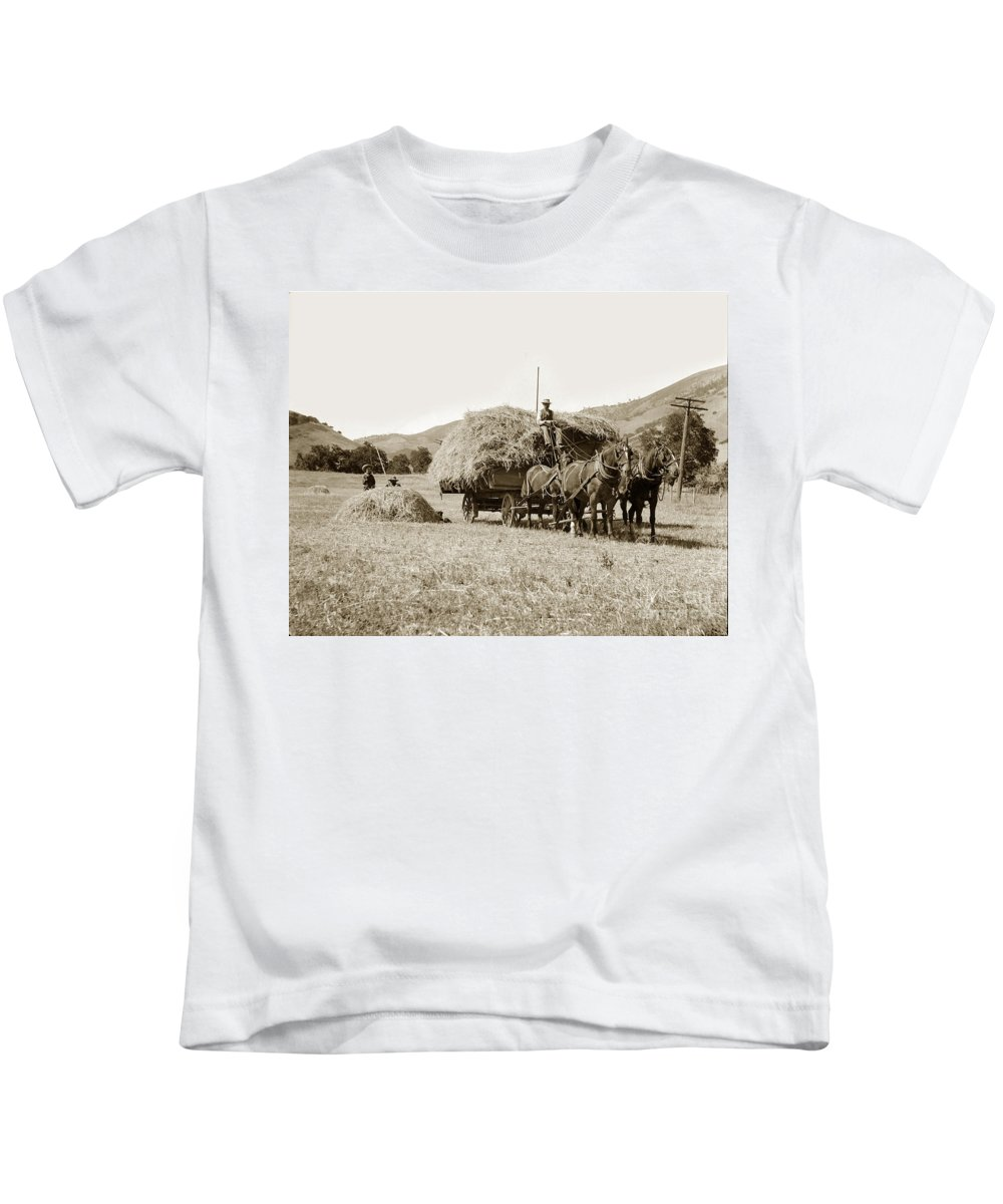 Hay Kids T-Shirt featuring the photograph Horse-drawn Hay Wagon Carmel Valley California Circa 1905 by California Views Archives Mr Pat Hathaway Archives