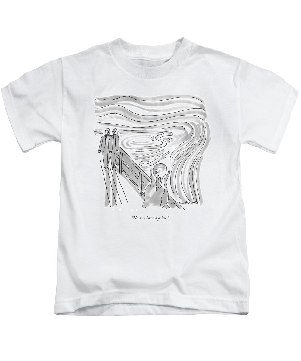 Scream Kids T-Shirt featuring the drawing He Does Have A Point by Michael Crawford