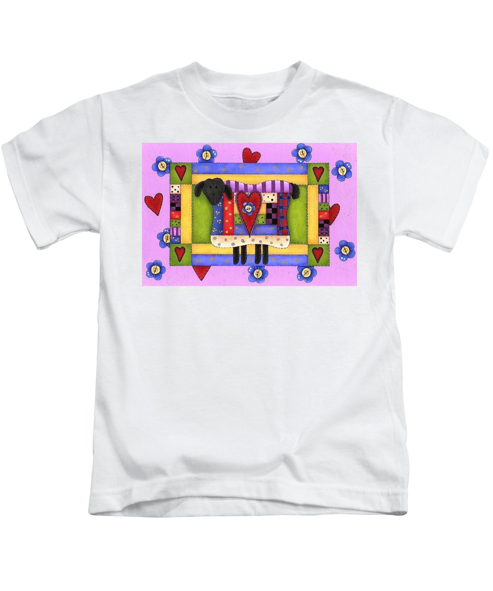 Flower Kids T-Shirt featuring the painting Heart For Ewe by Tracy Campbell