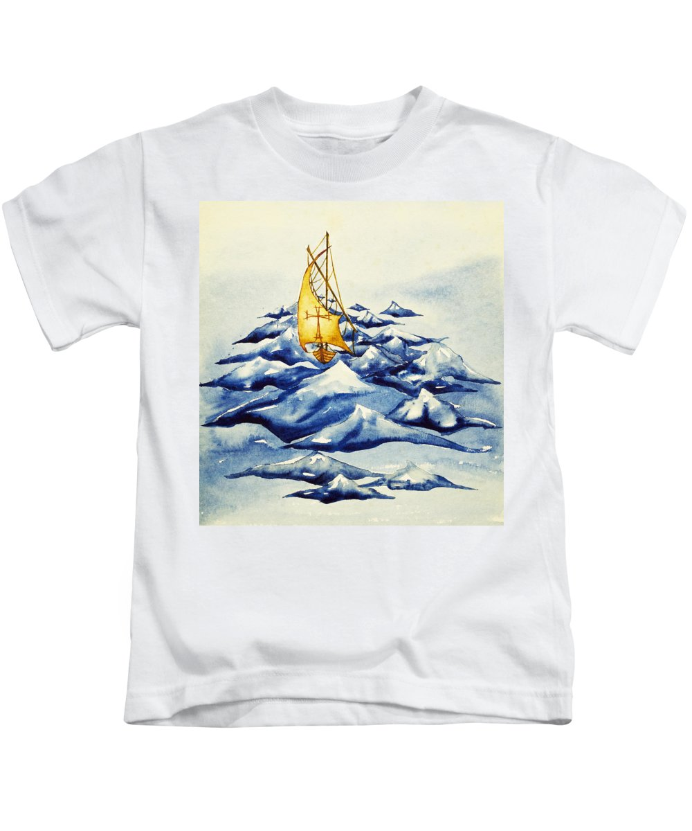 Christ Kids T-Shirt featuring the painting Heavy Seas by Daniel P Cronin
