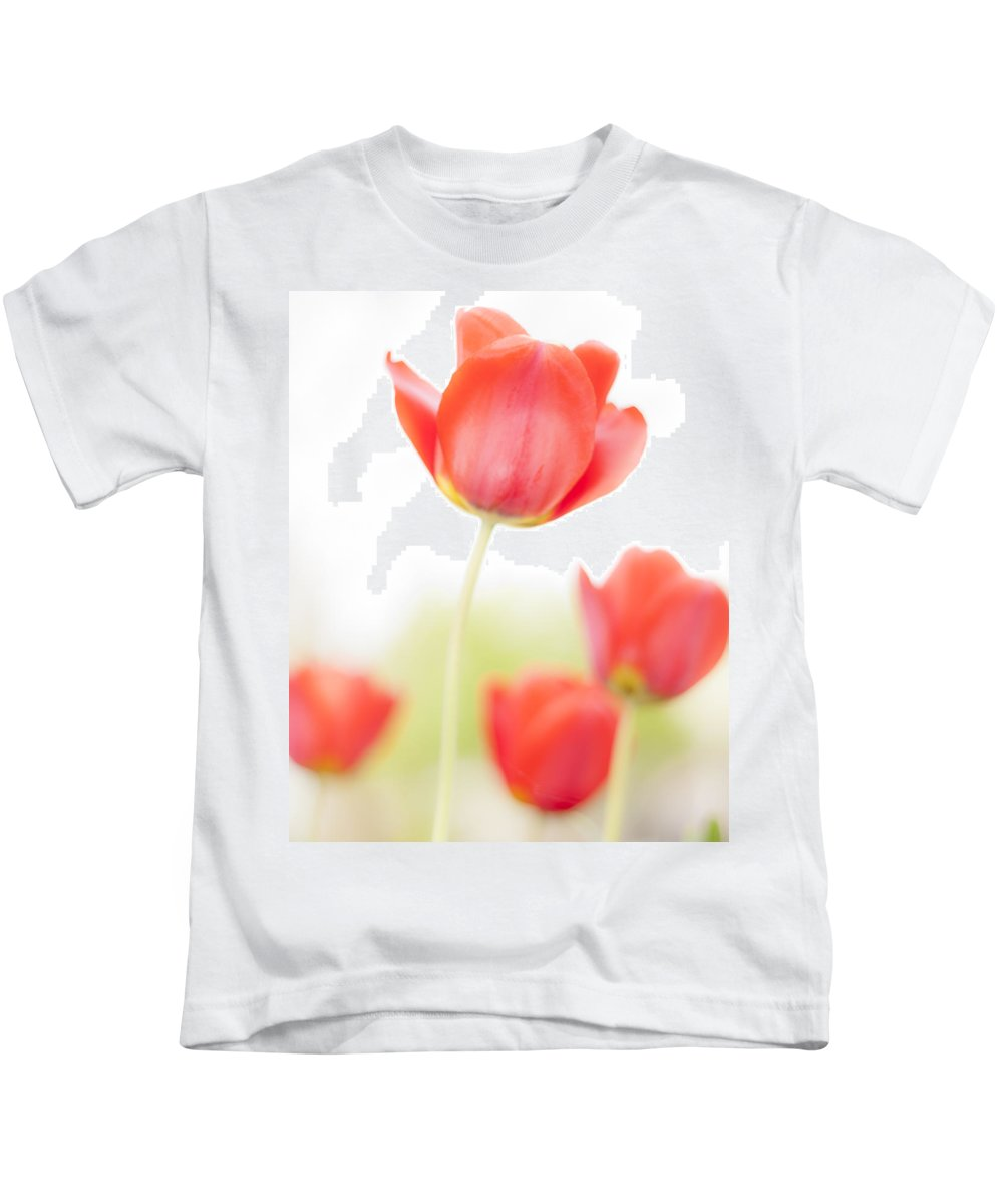 3scape Kids T-Shirt featuring the photograph High Key Tulips by Adam Romanowicz
