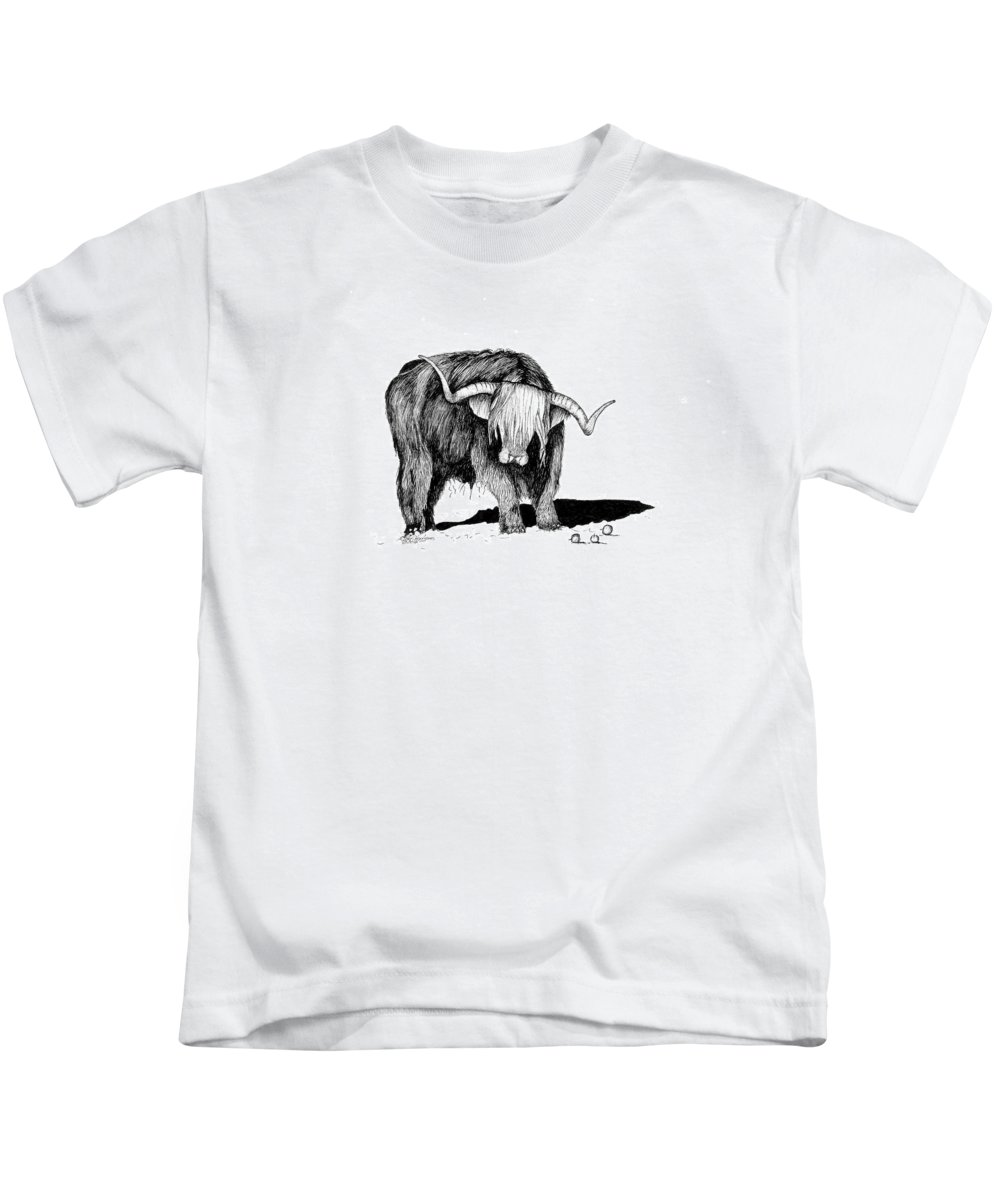 Highland Cattle Kids T-Shirt featuring the drawing Highland Bull by Petra Stephens
