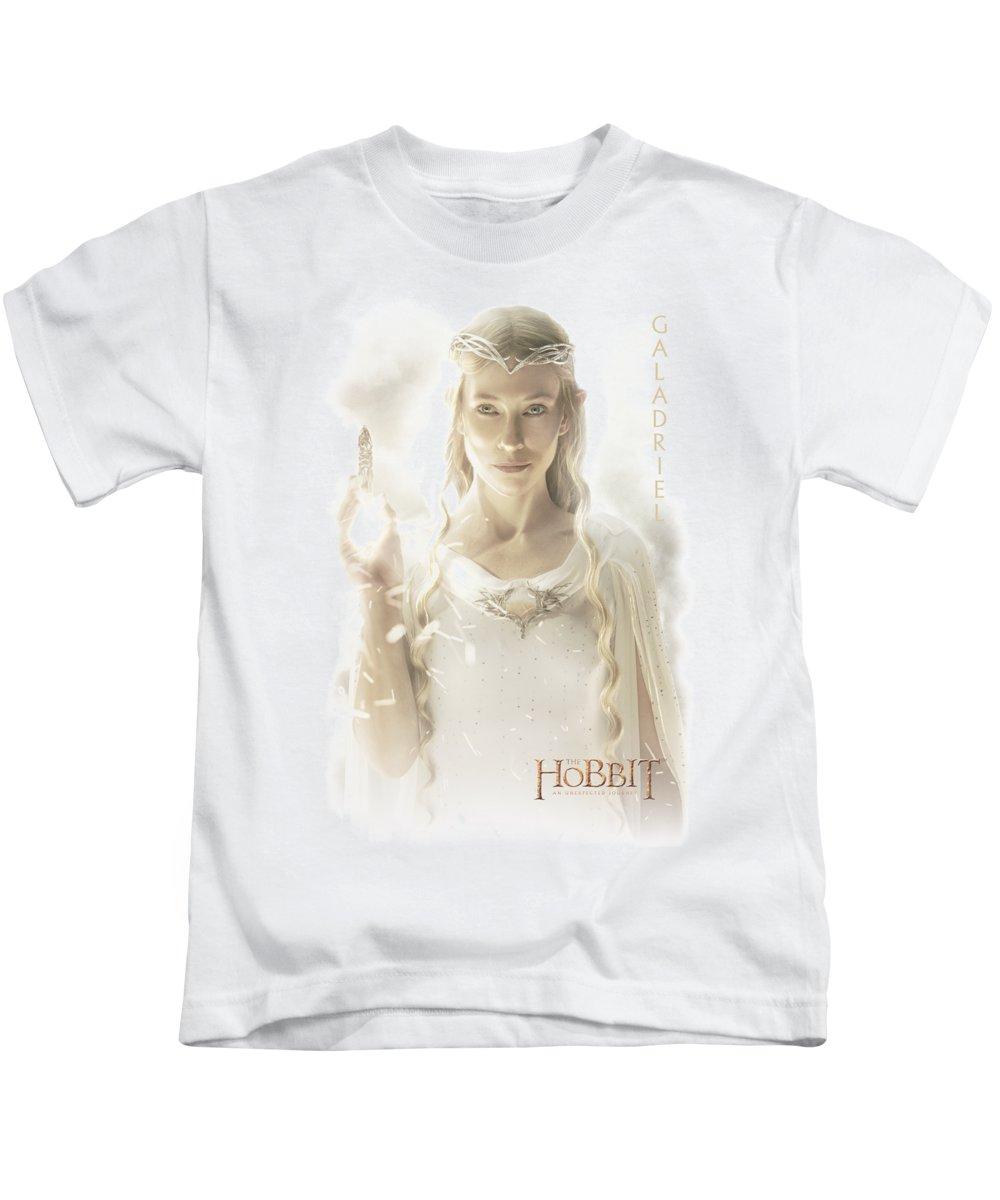 The Hobbit Kids T-Shirt featuring the digital art Hobbit - Galadriel by Brand A