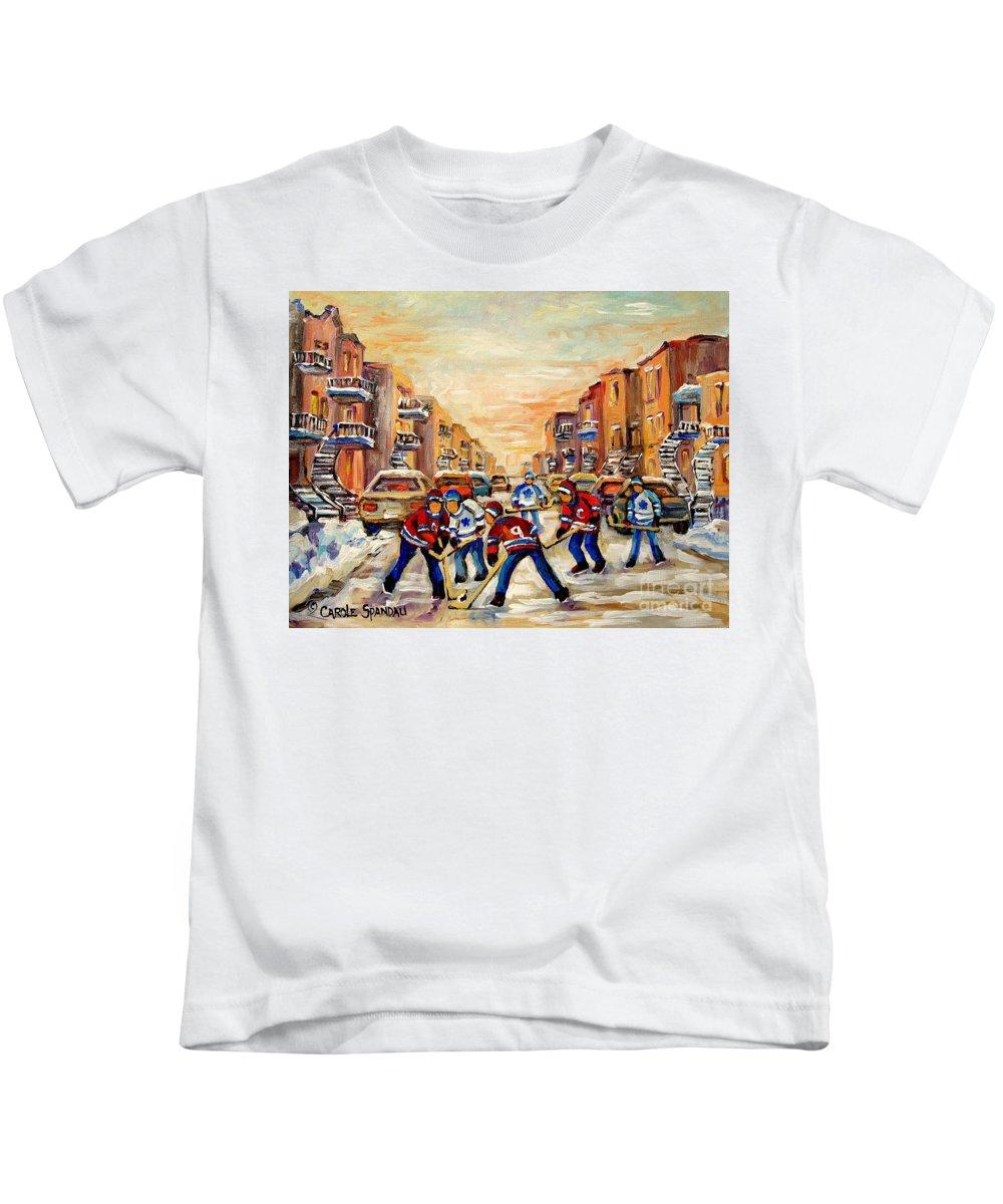 Hockey Daze Kids T-Shirt featuring the painting Hockey Daze by Carole Spandau