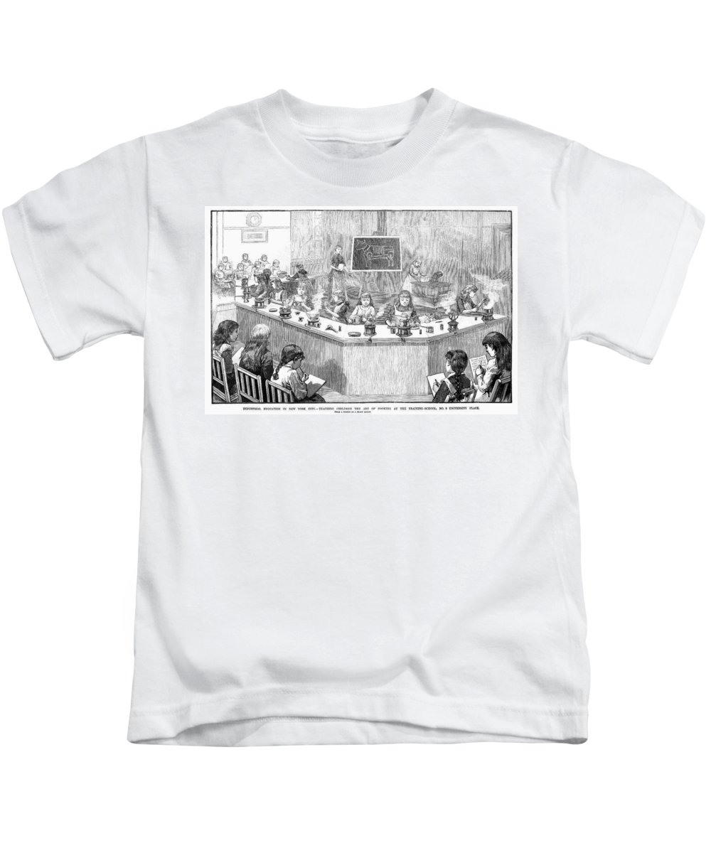1886 Kids T-Shirt featuring the photograph Home Economics Class, 1886 by Granger
