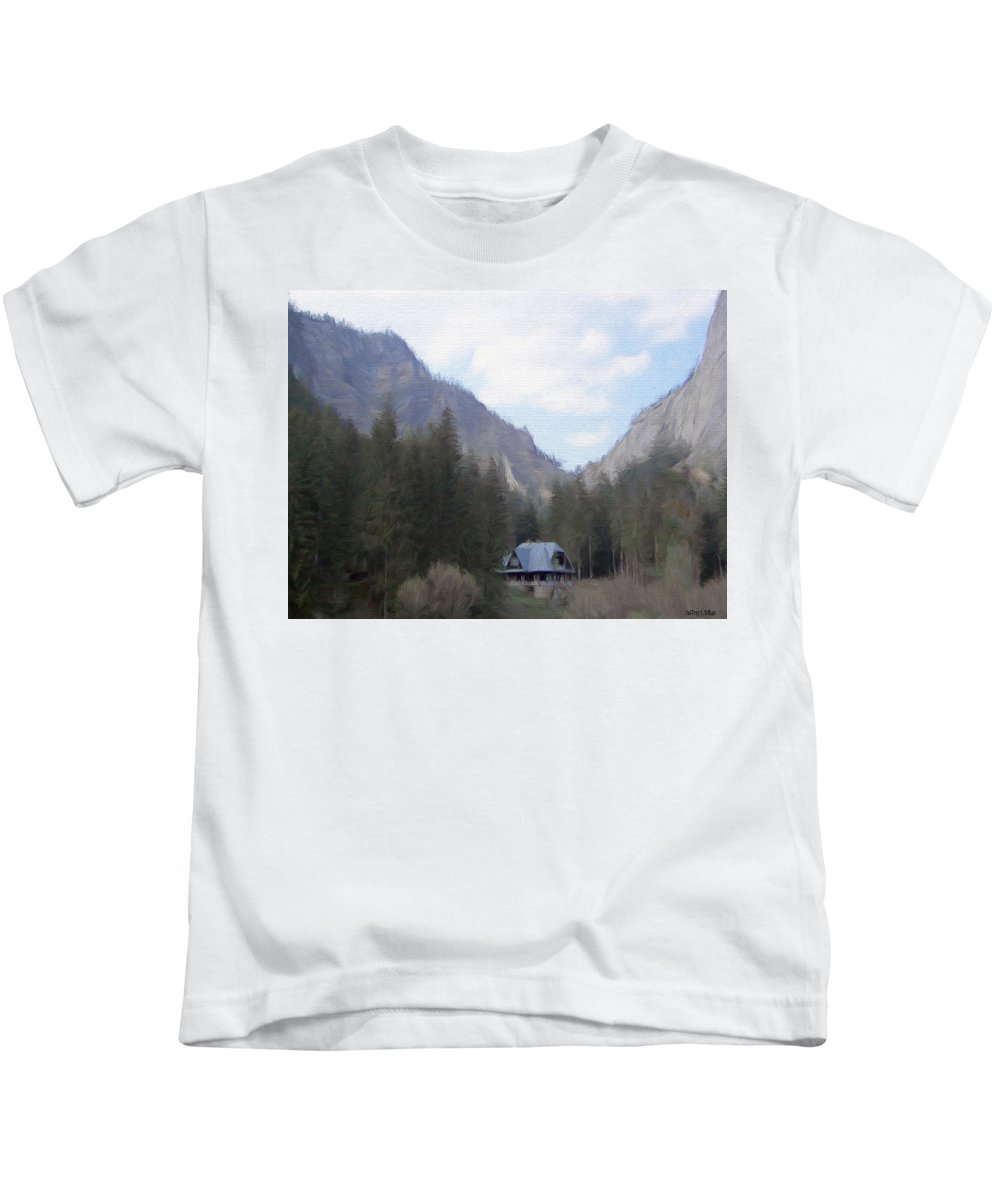 Alone Kids T-Shirt featuring the painting Home In The Mountains by Jeffrey Kolker