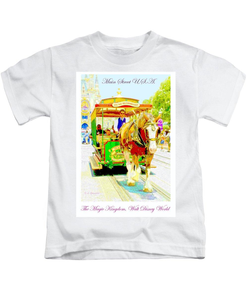 Walt Disney World Kids T-Shirt featuring the digital art Horse Drawn Trolley Car Main Street Usa by A Gurmankin
