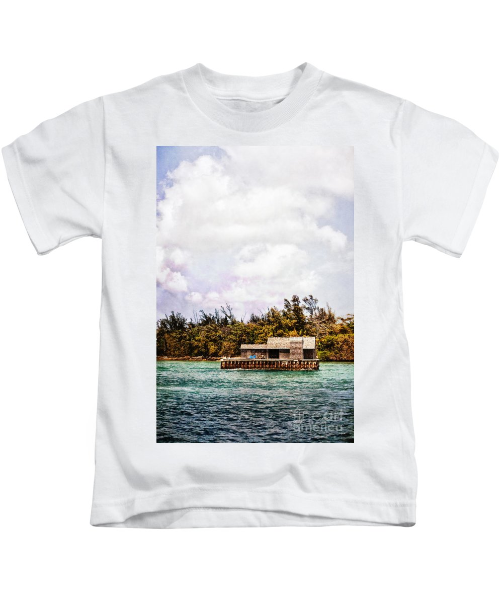 House; Houseboat; Water; Floating; Island; Deserted; Tropical; Waterfront; Bahamas; Shallow; Blue; Sky; Clouds; Deck; Trees; Building; Wood; Chairs; Outside; Outdoors; Exterior; Cottage; Home; Tropics; Ocean; Sea; Lake Kids T-Shirt featuring the photograph House Boat by Margie Hurwich