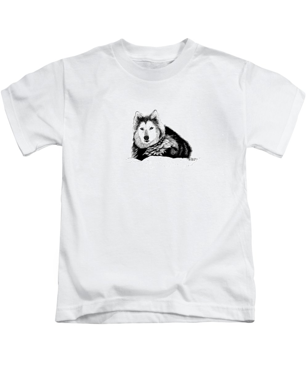 Dog Kids T-Shirt featuring the drawing Huskie In The Snow by Petra Stephens