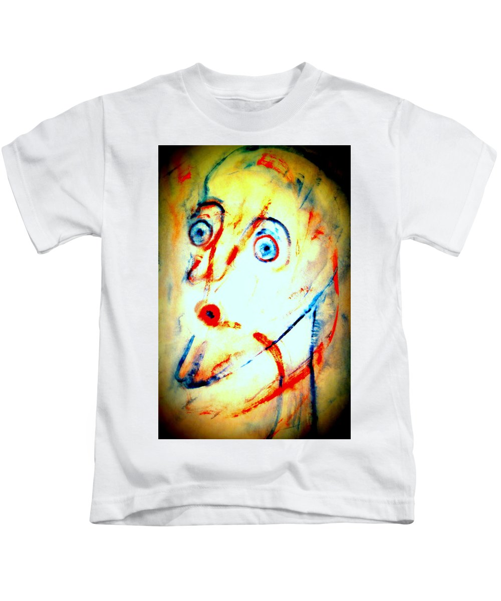 Man Kids T-Shirt featuring the painting I Have This Strange Feeling Today I Feel That Anything Can Happen by Hilde Widerberg