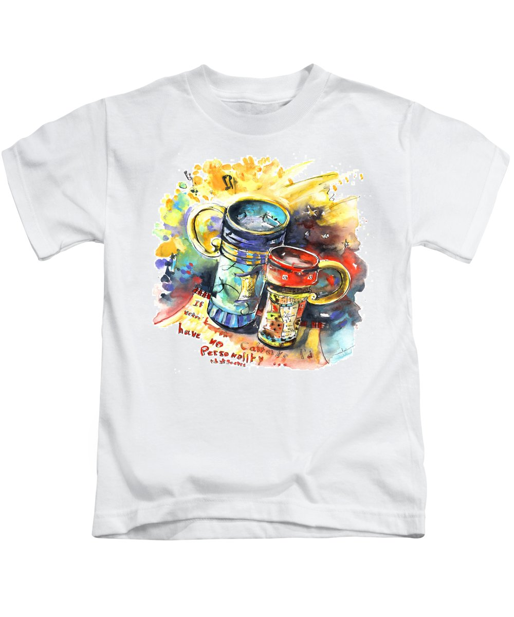 Cafe Crem Kids T-Shirt featuring the painting If It Were Not For Caffeine by Miki De Goodaboom