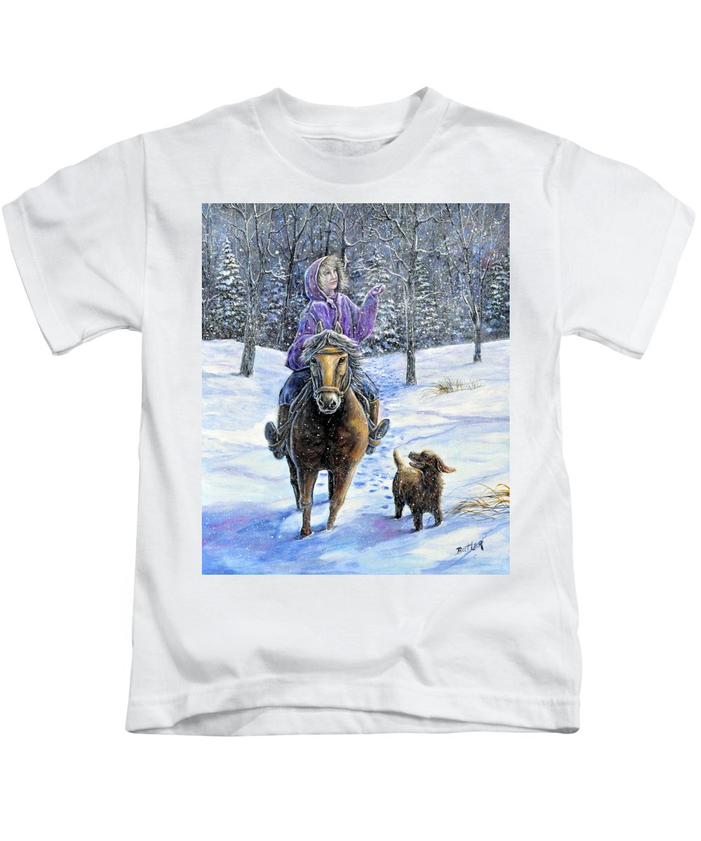 Nature Landscape Girl Ride Horse Dog Snow Country Friend Kids T-Shirt featuring the painting If Snowflakes Were Wishes by Gail Butler