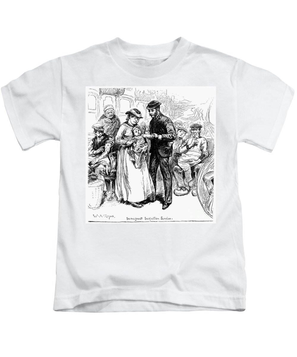 1883 Kids T-Shirt featuring the photograph Immigrant Inspection, 1883 by Granger
