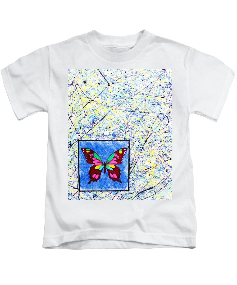 Abstract Kids T-Shirt featuring the painting Imperfect I by Micah Guenther
