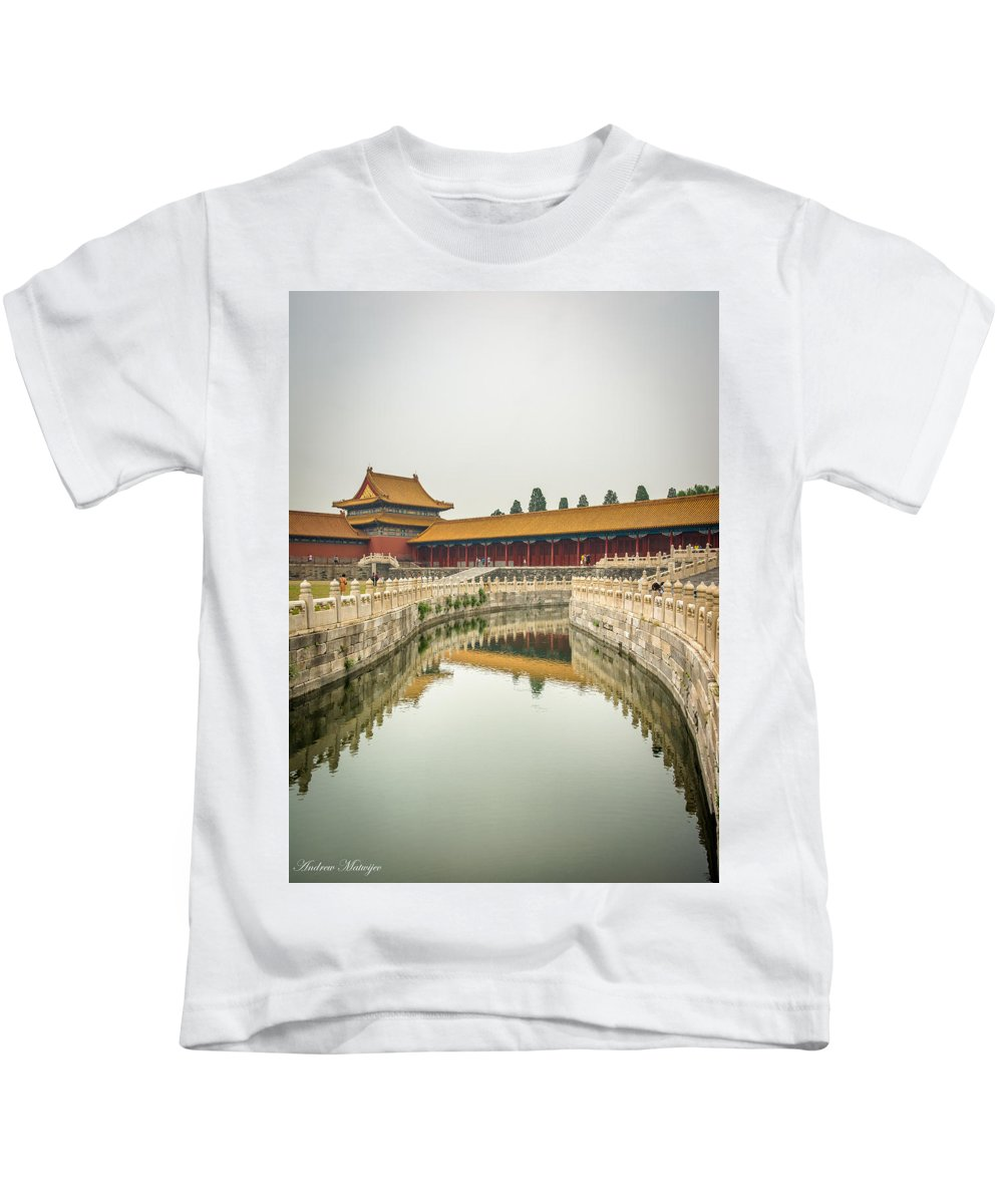 Forbidden City Kids T-Shirt featuring the photograph Imperial Waterway by Andrew Matwijec