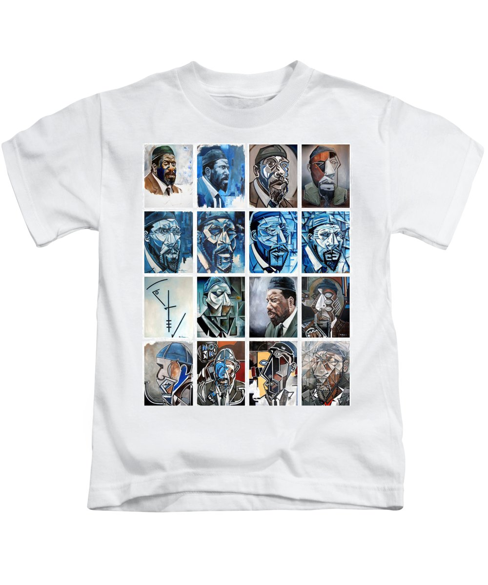 Jazz Piano Thelonious Monk Portrait Cubism Abstract Kids T-Shirt featuring the painting Improvised Metamorphoses by Martel Chapman