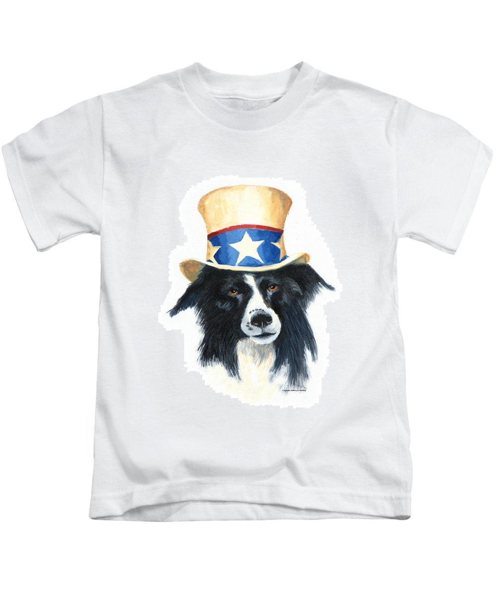 Dog Kids T-Shirt featuring the painting In Dog We Trust by Jerry McElroy