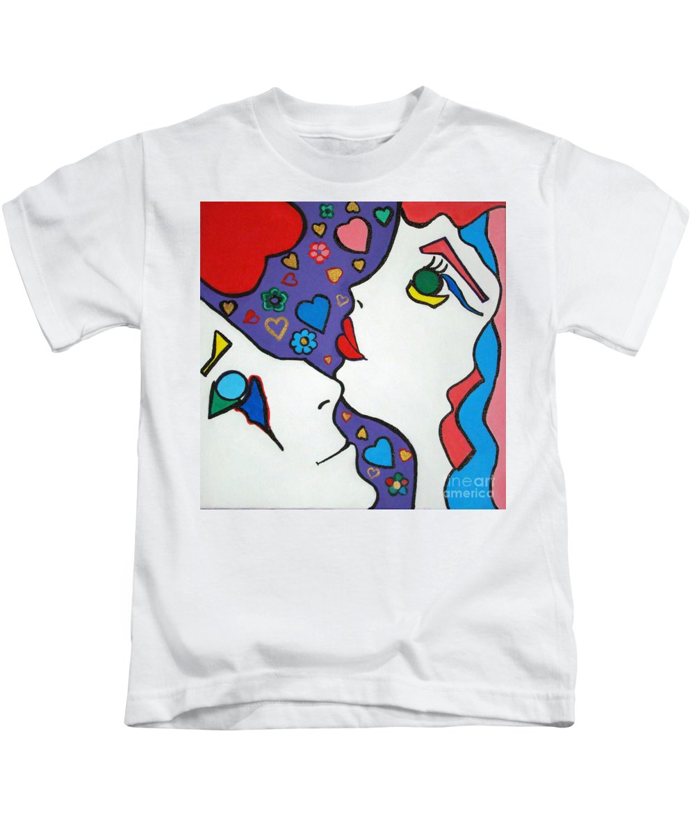 Pop Art Kids T-Shirt featuring the painting In Love by Silvana Abel