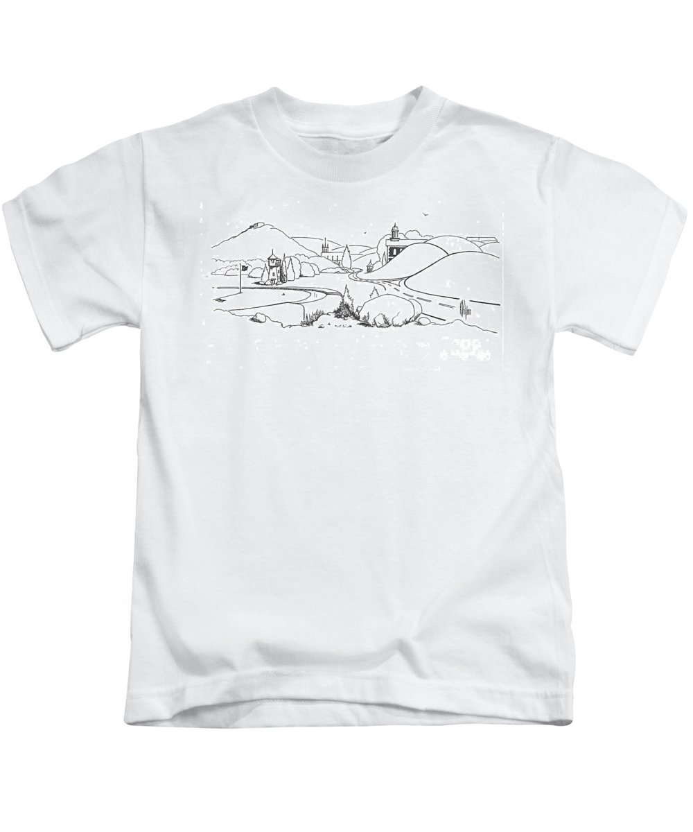 In The Land Of Brigadoon Kids T-Shirt featuring the drawing In The Land Of Brigadoon by Kip DeVore