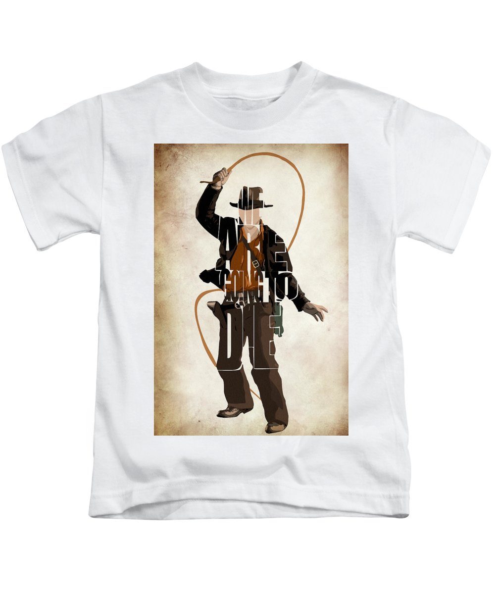 Indiana Jones Kids T-Shirt featuring the digital art Indiana Jones Vol 2 - Harrison Ford by Inspirowl Design