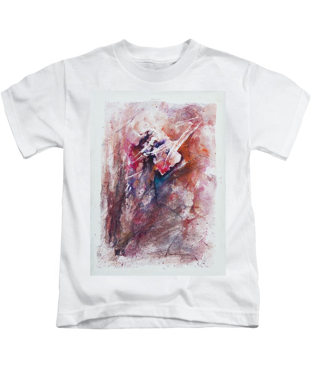 Abstract Kids T-Shirt featuring the painting Inner Conflict by Rachel Christine Nowicki
