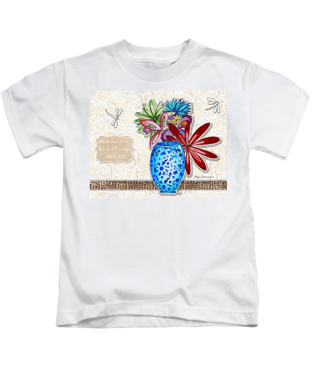 Dragonfly Kids T-Shirt featuring the painting Inspirational Floral Dragonfly Painting Flower Vase With Quote By Megan Duncanson by Megan Duncanson