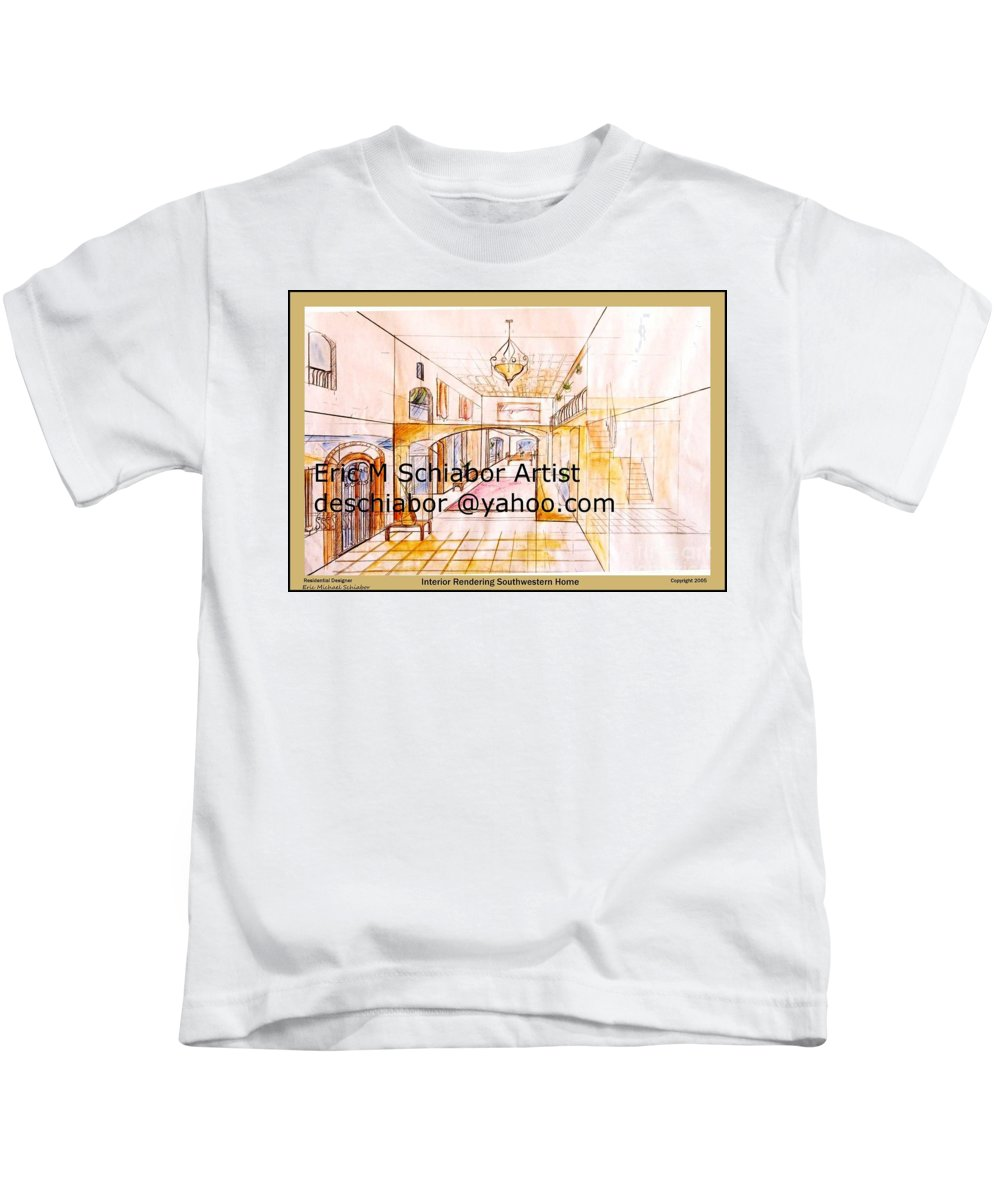 Interior Kids T-Shirt featuring the painting Interior Perspective by Eric Schiabor