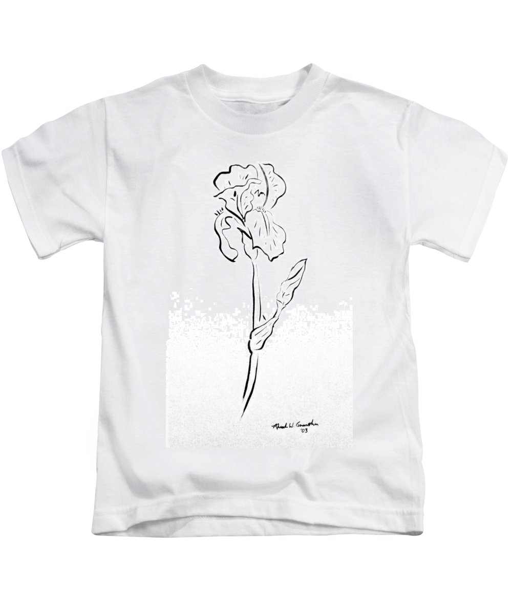 Abstract Kids T-Shirt featuring the drawing Iris II by Micah Guenther