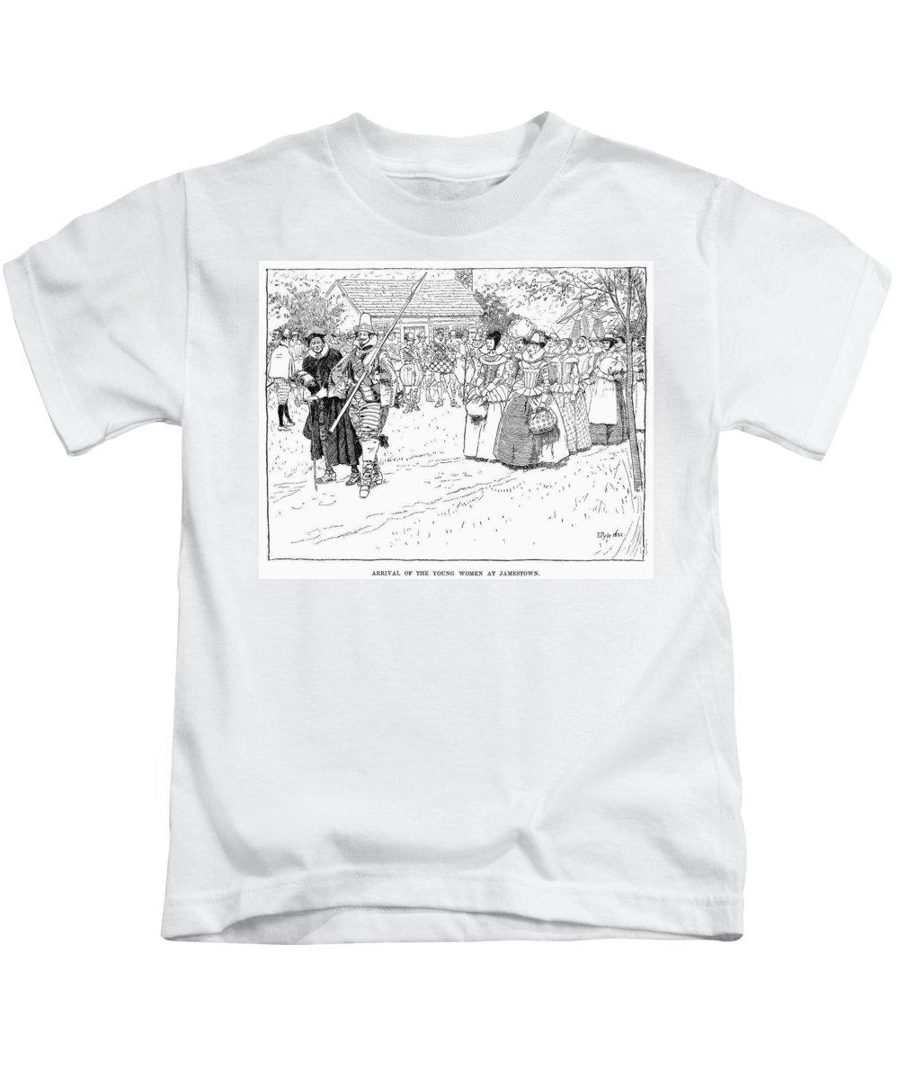 1621 Kids T-Shirt featuring the drawing Jamestown Women, 1621 by Granger