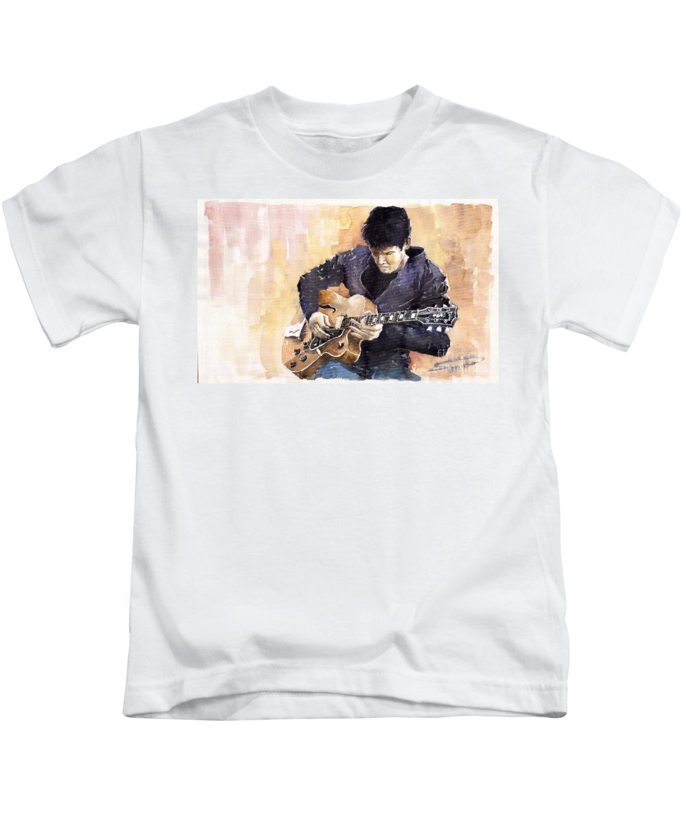 Gutarist Impressionist Instrument Jazz John Legend Mayer Music Musician Portret Rock Watercolour Kids T-Shirt featuring the painting Jazz Rock John Mayer 02 by Yuriy Shevchuk