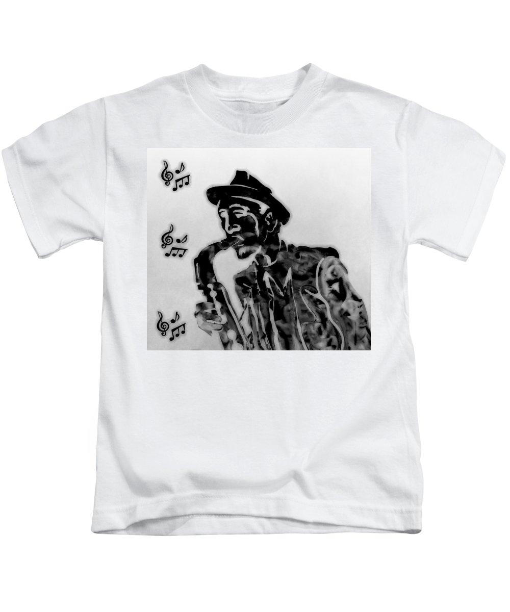Jazz Saxophone Music Kids T-Shirt featuring the digital art Jazz Saxophone Man by Dan Sproul
