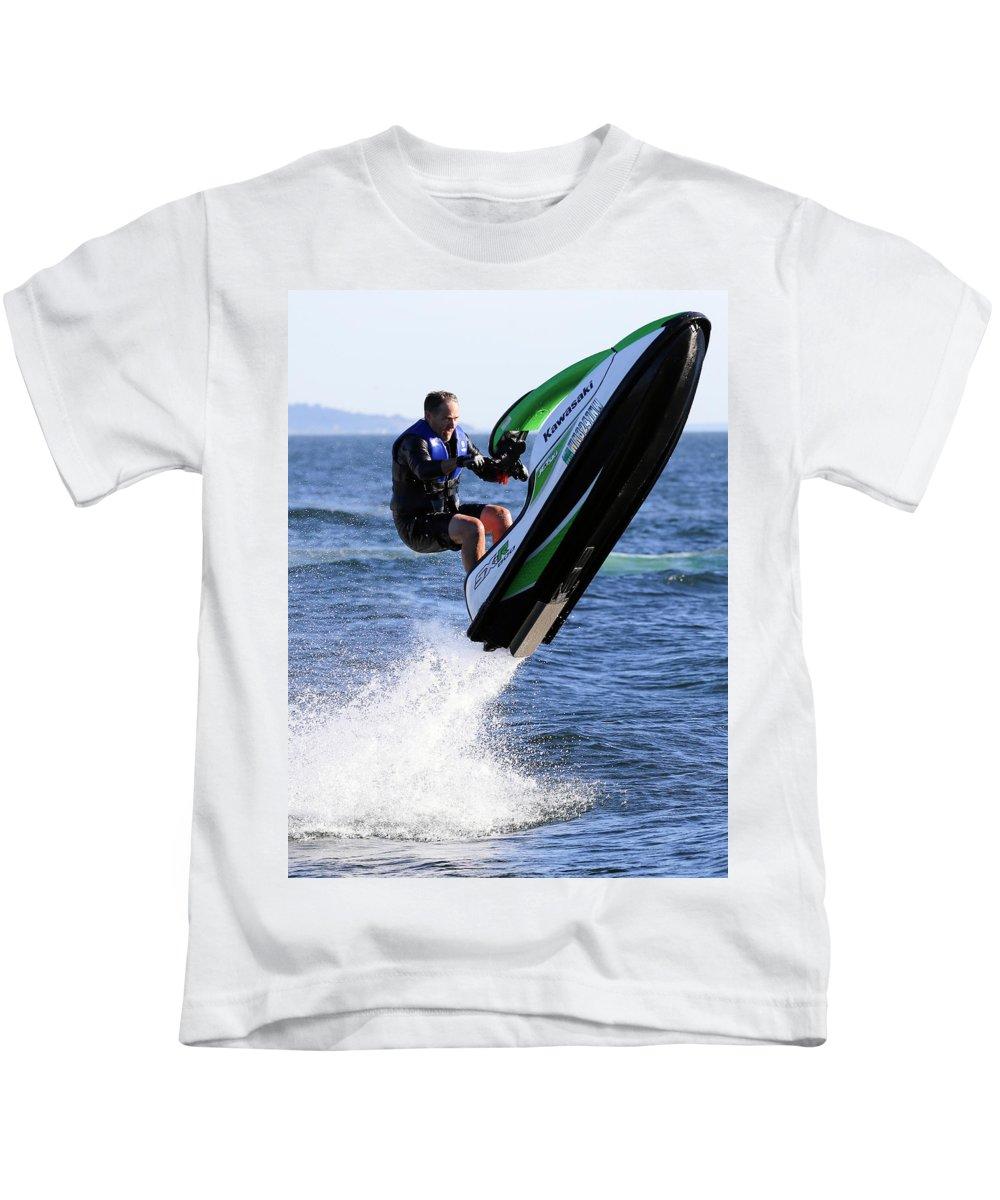 Jetski Kids T-Shirt featuring the photograph Jetskiing by Paul Fell