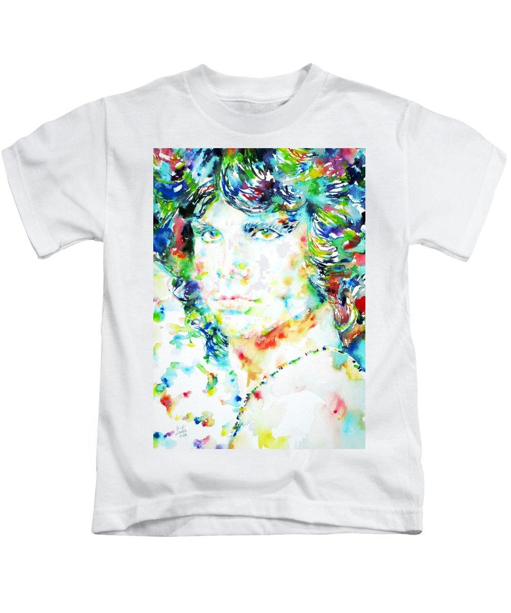 Jim Kids T-Shirt featuring the painting Jim Morrison Watercolor Portrait.5 by Fabrizio Cassetta