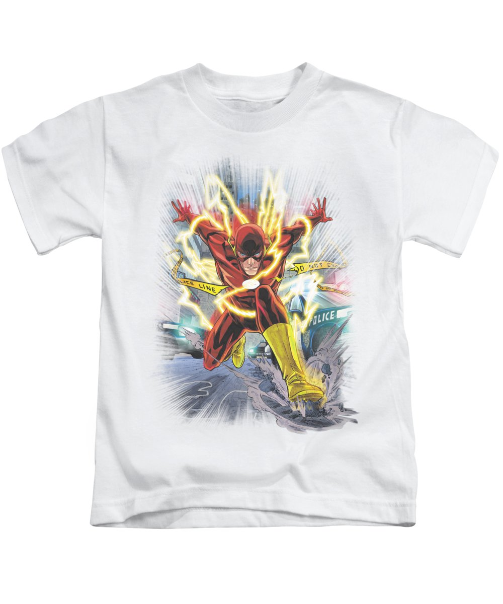 Justice League Of America Kids T-Shirt featuring the digital art Jla - Brightest Day Flash by Brand A