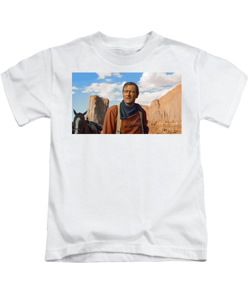 Duke Kids T-Shirt featuring the painting John Wayne by Paul Tagliamonte
