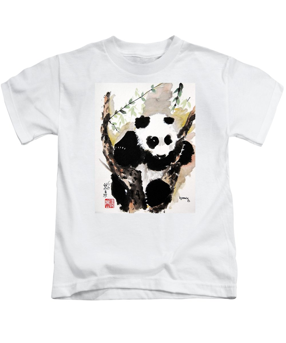 Chinese Brush Painting Kids T-Shirt featuring the painting Joyful Innocence by Bill Searle