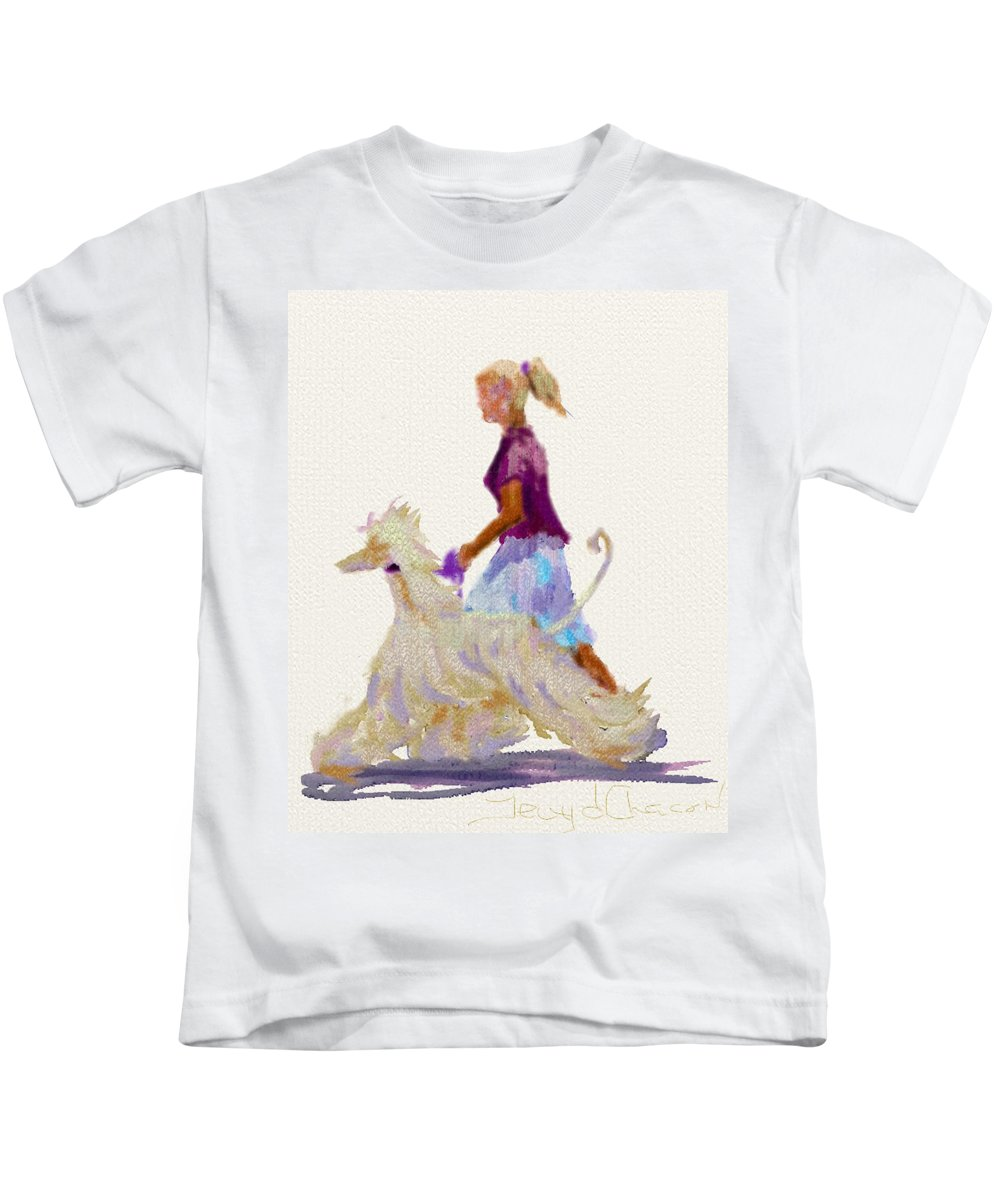 Ipad Design Kids T-Shirt featuring the painting Junior Design by Terry Chacon