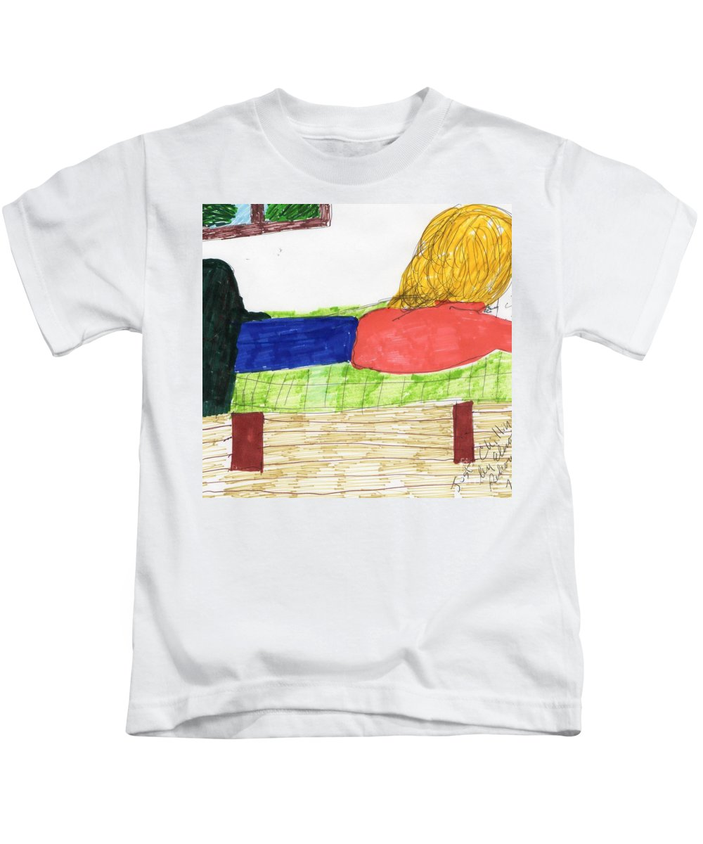 Girl On Bed Reading Blonde Hair Kids T-Shirt featuring the mixed media Just Chillin by Elinor Helen Rakowski